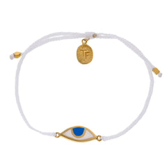EYE PROTECTION BRACELET - WHITE - GOLD PLATED sterling silver by tiger frame jewellery