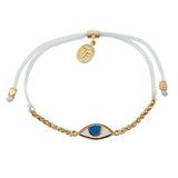 CHAIN & CORD EYE PROTECTION BRACELET - WHITE - GOLD