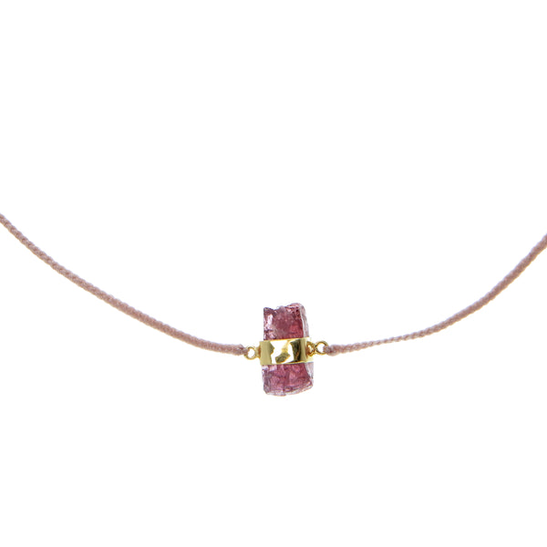 WOVEN CRYSTAL CHOKER - DUSTY PINK WITH GARNET - GOLD