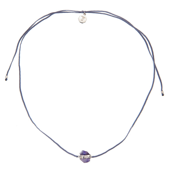 WOVEN CRYSTAL CHOKER - GREY WITH AMETHYST - SILVER
