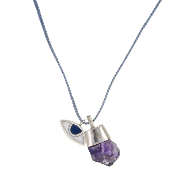 WOVEN EYE AND CRYSTAL NECKLACE- PASTEL GREY/AMETHYST - SILVER