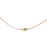 WOVEN TINY EYE SPY CHOKER - PALE PINK WITH GREEN EYE - GOLD