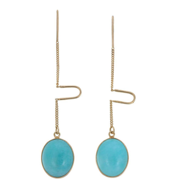 AMAZONITE OVAL PULL THROUGH  earrings in gold plated silver by tiger frame jewellery