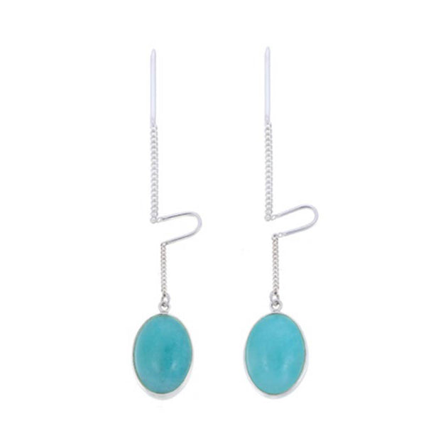 AMAZONITE OVAL PULL THROUGH  - Silver