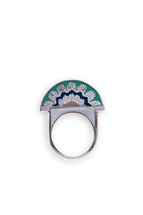 MINI EGYPTIAN QUEEN RING - Green/Silver
