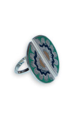 DOUBLE FAN RING - Green/Silver