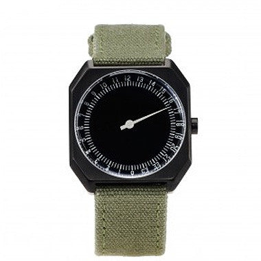 Slow Jo 15: Olive Green Canvas / Black Dial