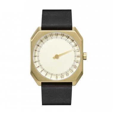 Slow Jo 16: Black Vintage Leather / Gold Dial
