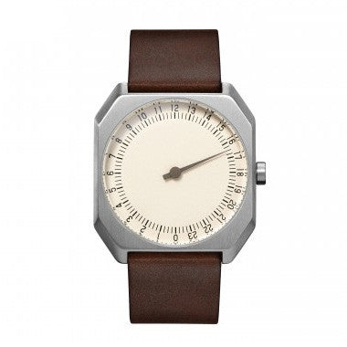 Slow Jo 17: Dark Brown Vintage Leather / Creme Dial