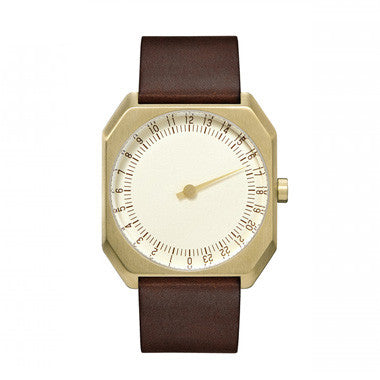 Slow Jo 18: Dark Brown Vintage Leather / Gold Dial