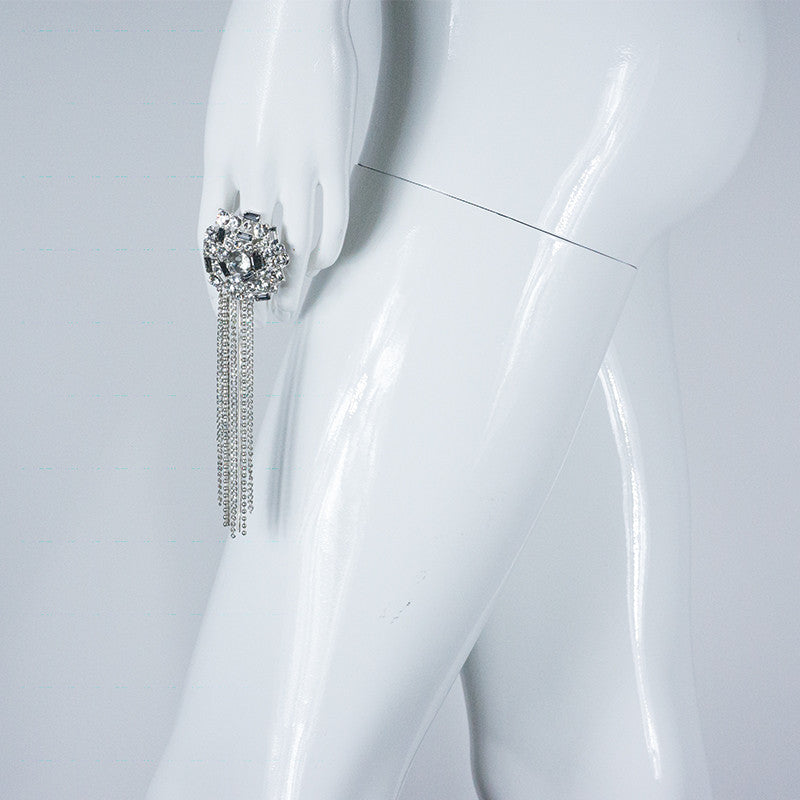 Stella Nemiro Allure Silver White Ring with Chains