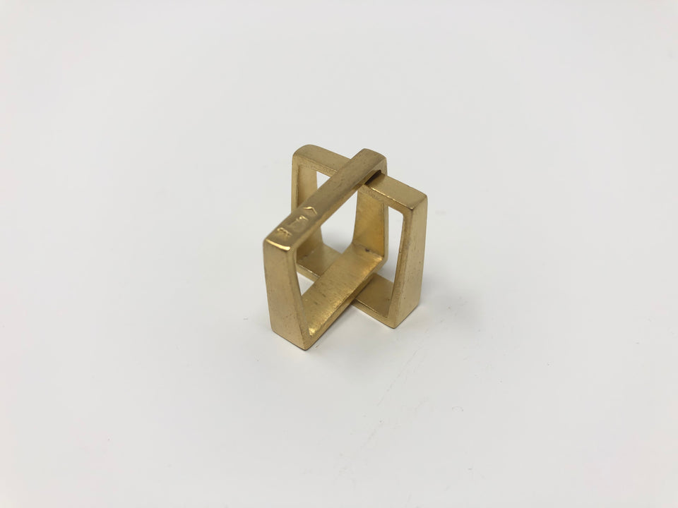 Lucieblanche Square Collection: 2 Module Vermeil Ring