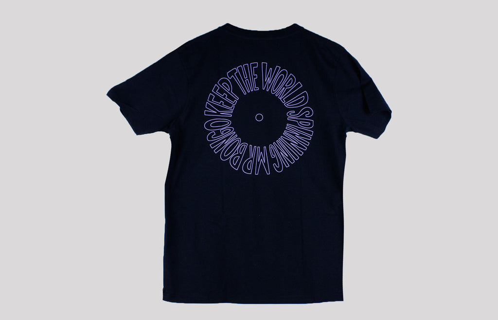 Mr Bongo Short Sleeve T-Shirt – Keep The World Spinning (Black T With Purple Print)