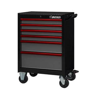 "26"" 6 Drawer Roll Cab (Gloss Black Body/Gloss Gray Drawers/ Red Anodized Drawer Pulls) - Roost Factory Hoosier Offroad"