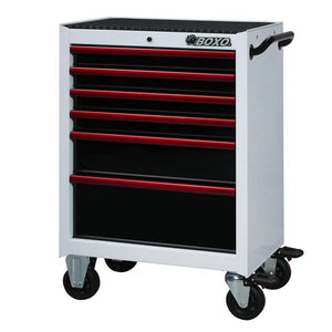 "26"" 6 Drawer Roll Cab (Gloss White Body/Gloss Black Drawers/ Red Anodized Drawer Pulls) - Roost Factory Hoosier Offroad"