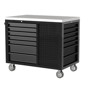 "45"" 12 Drawer Workstation with Stainless Steel Top & Customizable Drawer Trim (Black Body & Gray Drawers) - Roost Factory Hoosier Offroad"