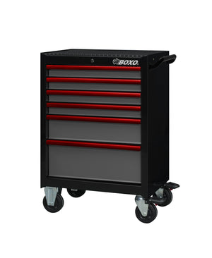 "BOXO 26"" 6 Drawer Roll Cab (Gloss Black Body/Gloss Gray Drawers/ Red Anodized Drawer Pulls) - Roost Factory Hoosier Offroad"