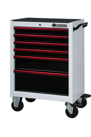 "BOXO 26"" 6 Drawer Roll Cab (Gloss White Body/Gloss Black Drawers/ Red Anodized Drawer Pulls) - Roost Factory Hoosier Offroad"