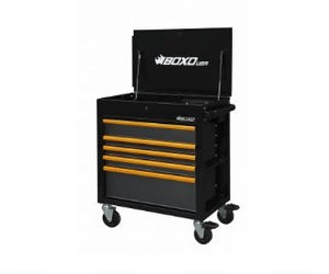 "BOXO 34"" 5 Drawer Service Cart w Power Strip - Black - Roost Factory Hoosier Offroad"