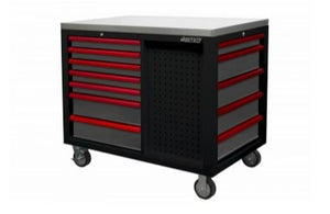 "BOXO 45"" 12 Drawer Workstation with Stainless Steel Top & Customizable Drawer Trim (Black Body & Gray Drawers) - Roost Factory Hoosier Offroad"