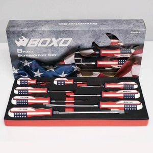 BOXO USA Limited Edition American Flag Handle 8 Pc Screwdriver Set - Roost Factory Hoosier Offroad