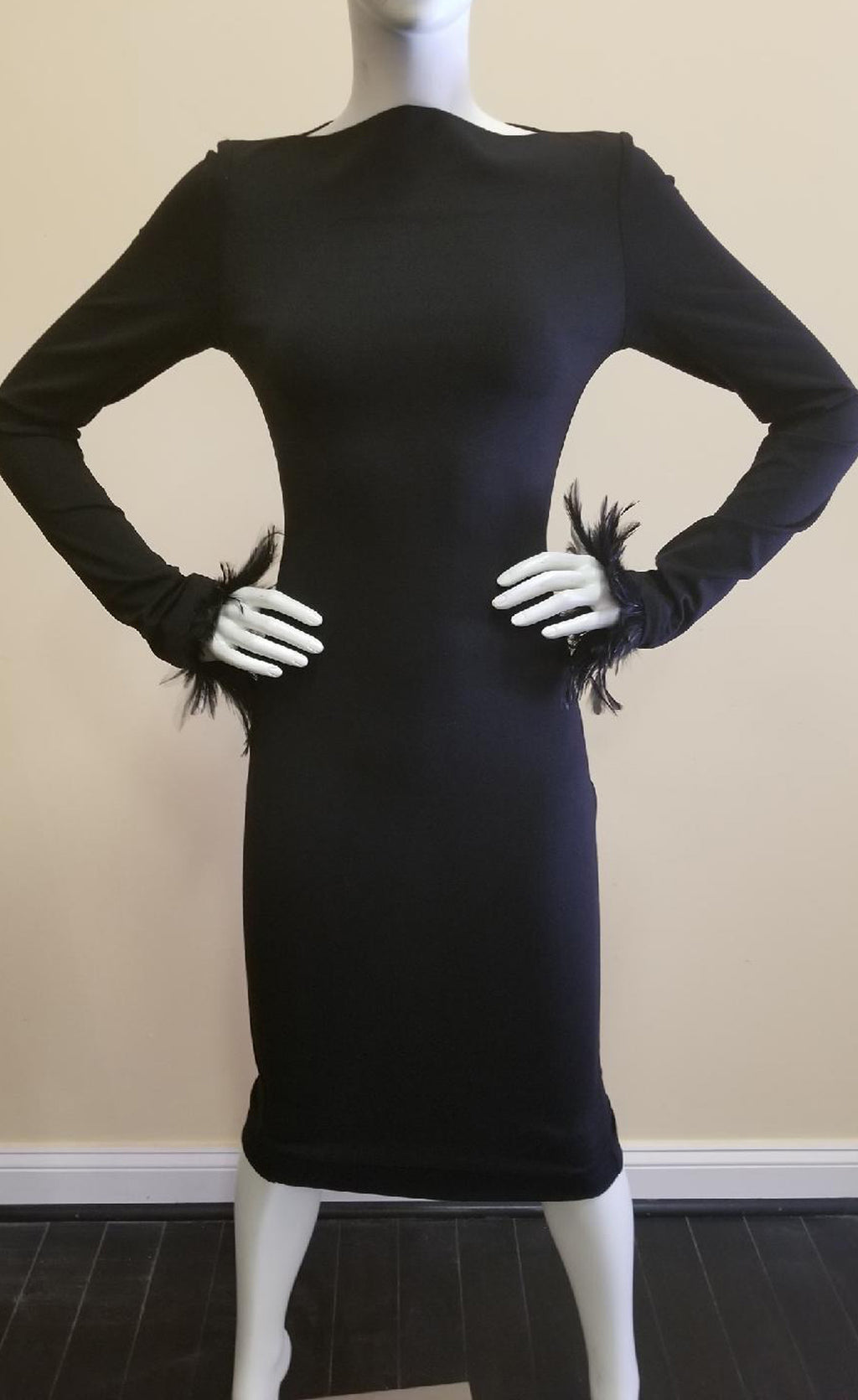 Black Bolt Neck Dress