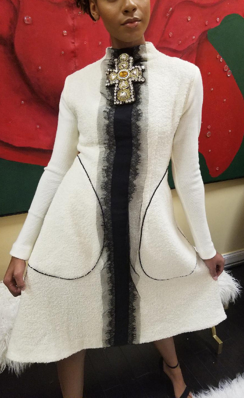 Winter White Boucle, High-Neck A-line