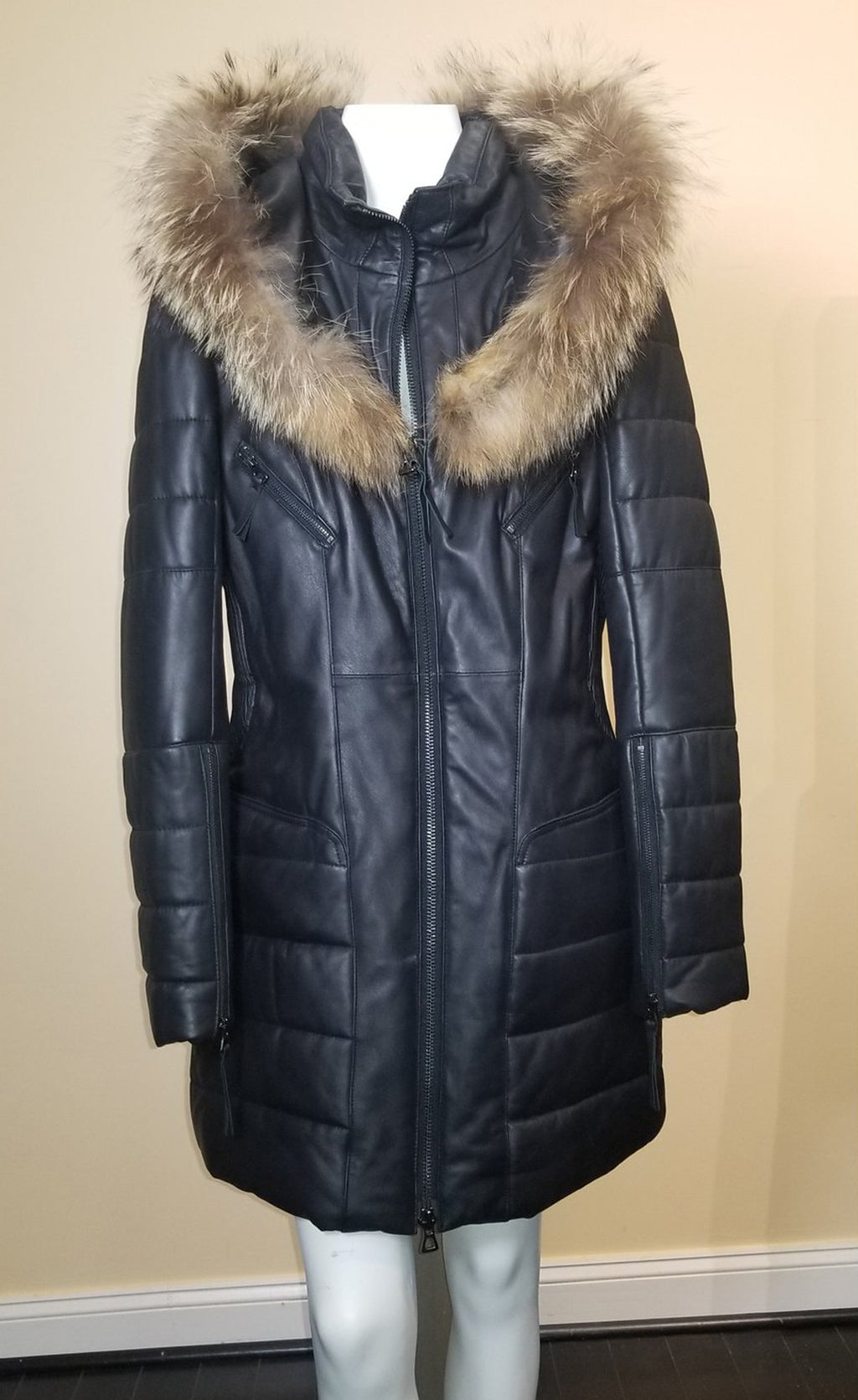 Leather Puffed Coat with Hood