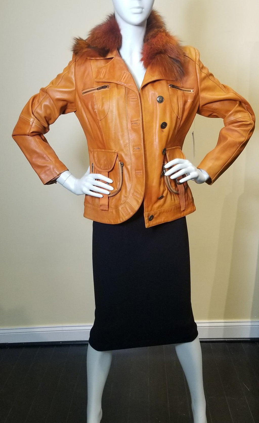 Orange Leather Jacket