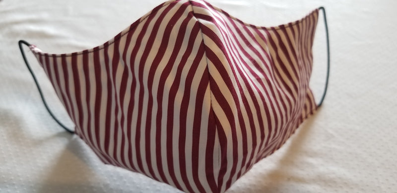 Merlot and White Cotton Striped Face Mask