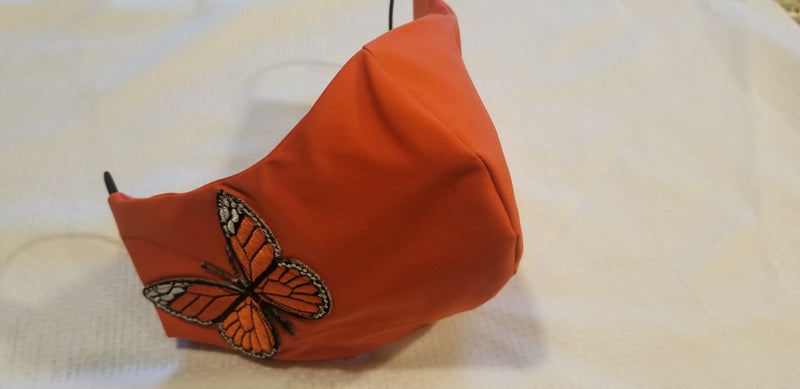 Orange Butterfly Face Mask