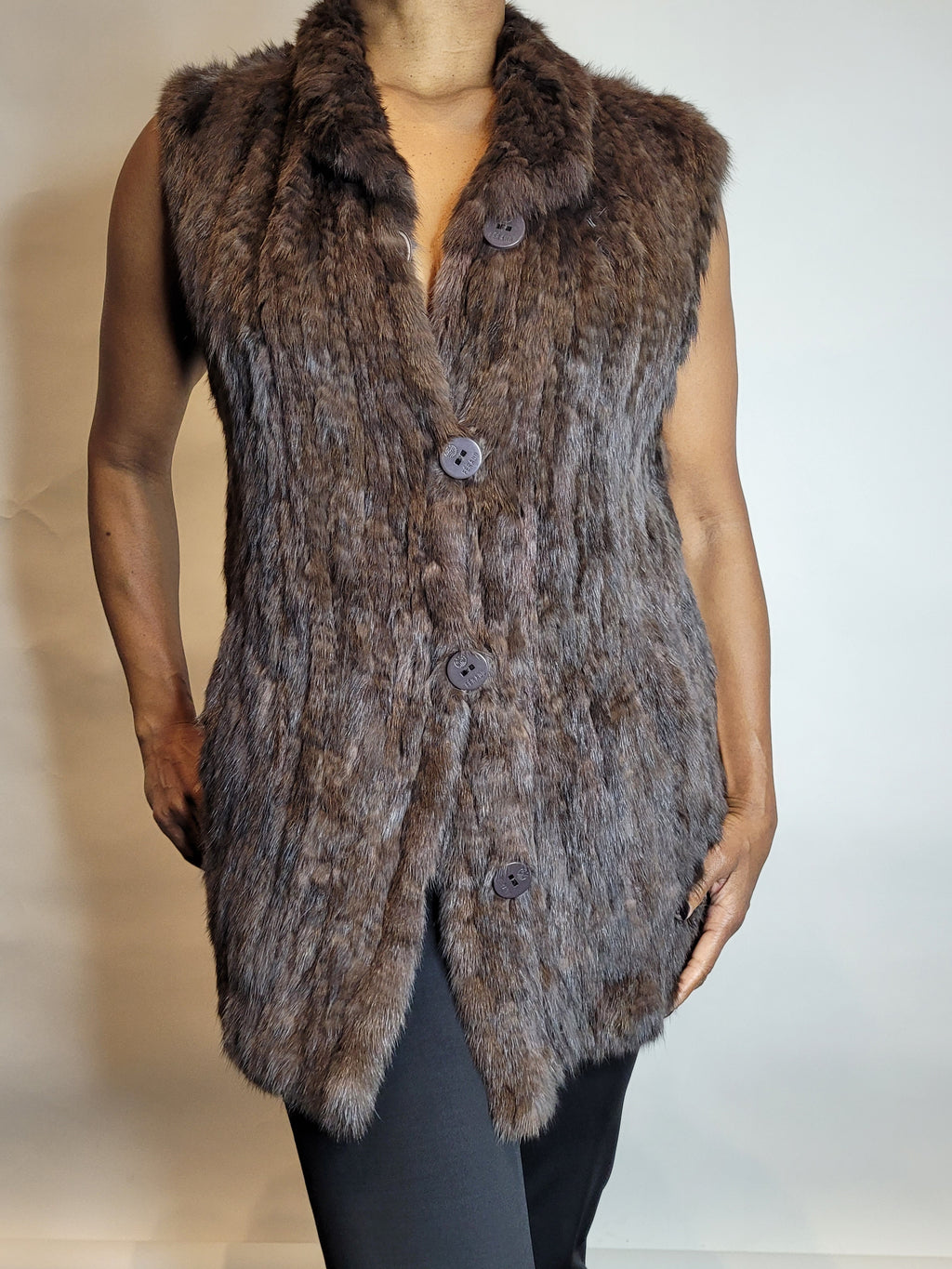 Mink pieces hip length vest