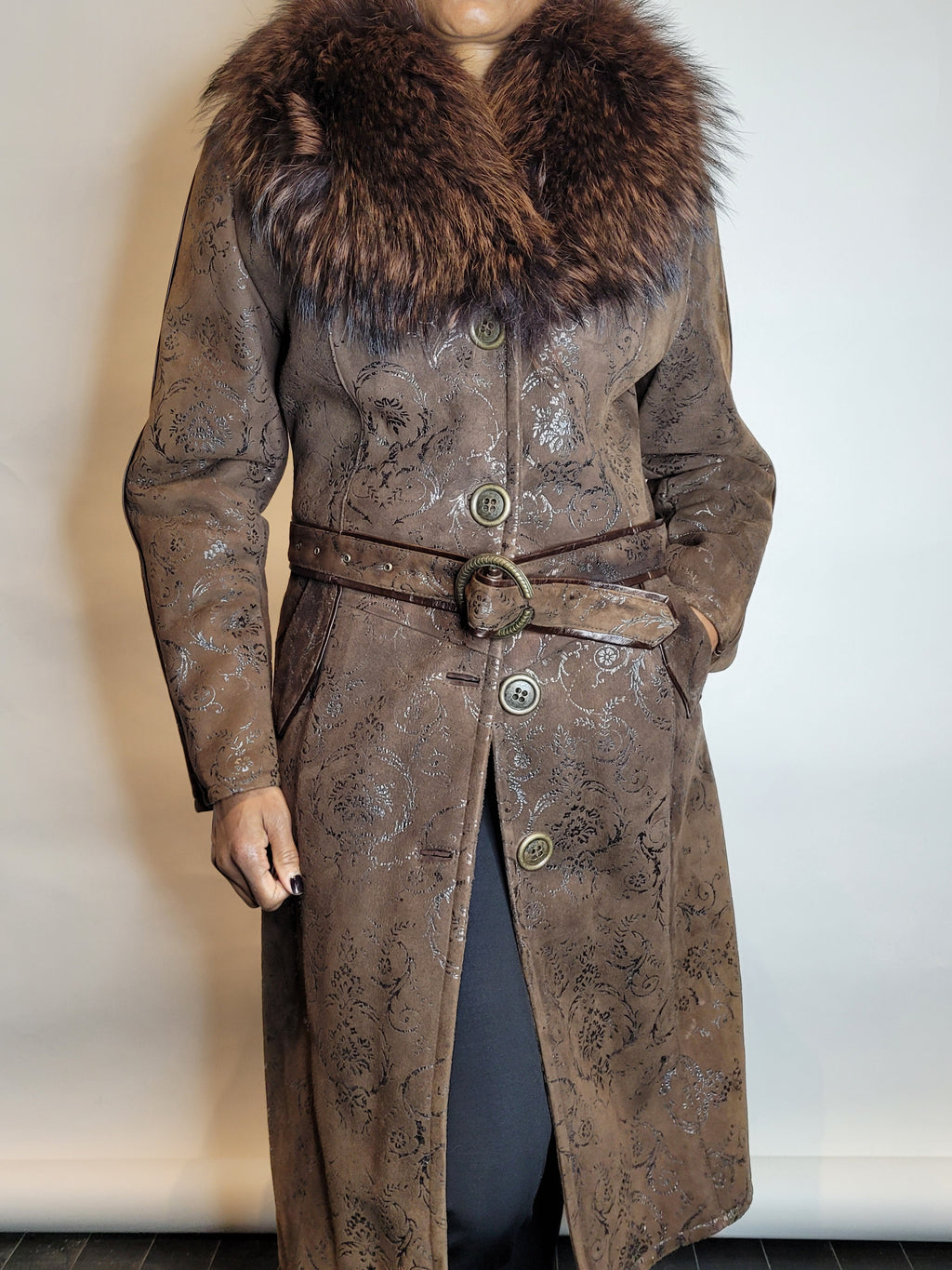 3/4 Length Chocolate Brown Shearling