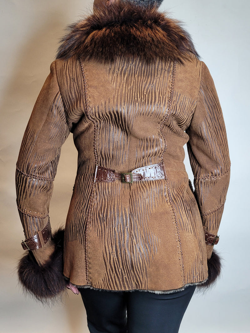 Zaggart print Shearling with Beaver collar