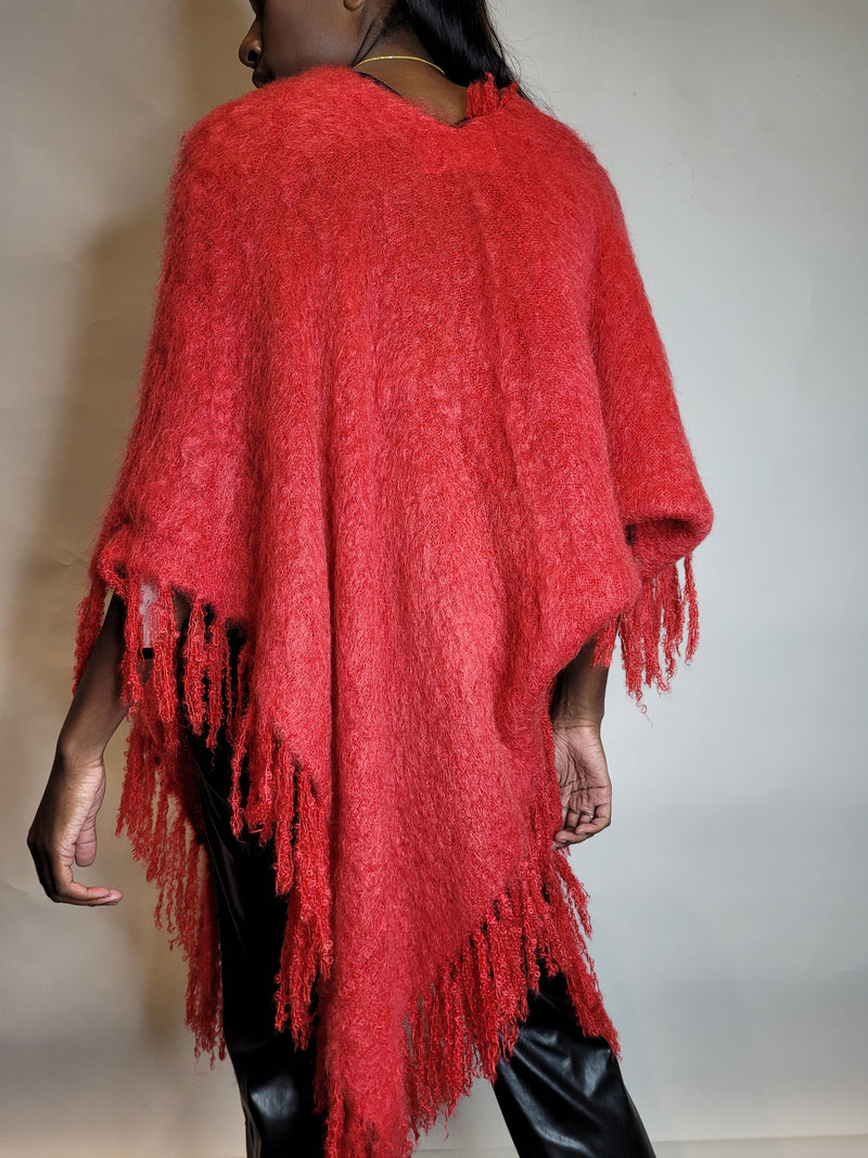 Red Mohair Poncho