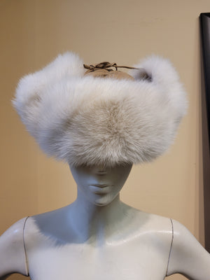 Leather and Fox Fur Trapper Hat