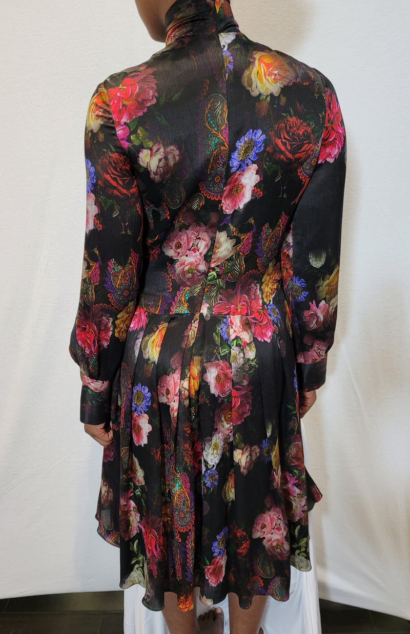 High Neck Printed Silk Dress