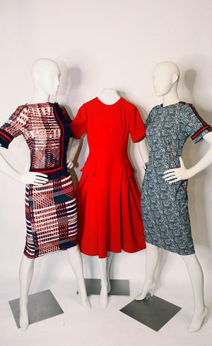 Red Camo Dress, Semi-fitted Bodice, Pleated Waist