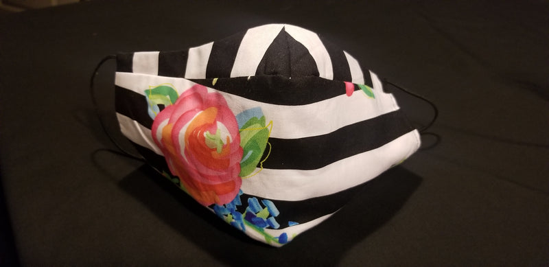 Black & White Striped with a Rose Mask