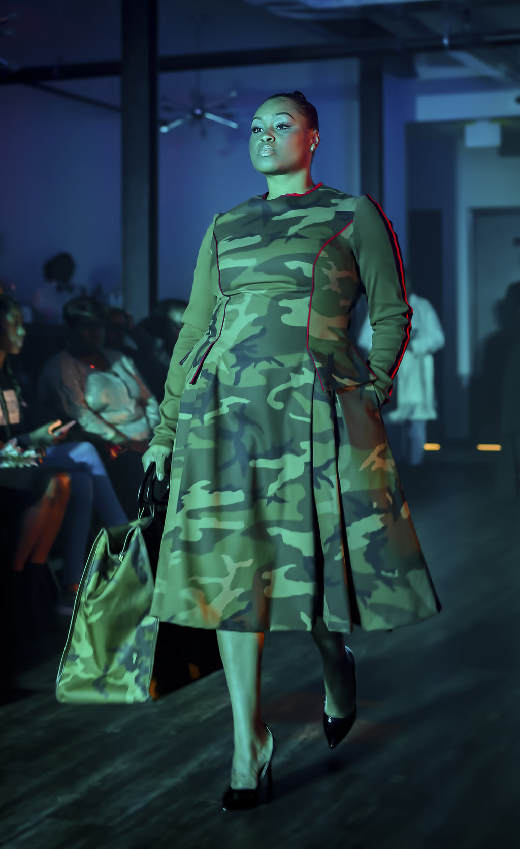 Round Neck CAMO Dress with Full Skirt