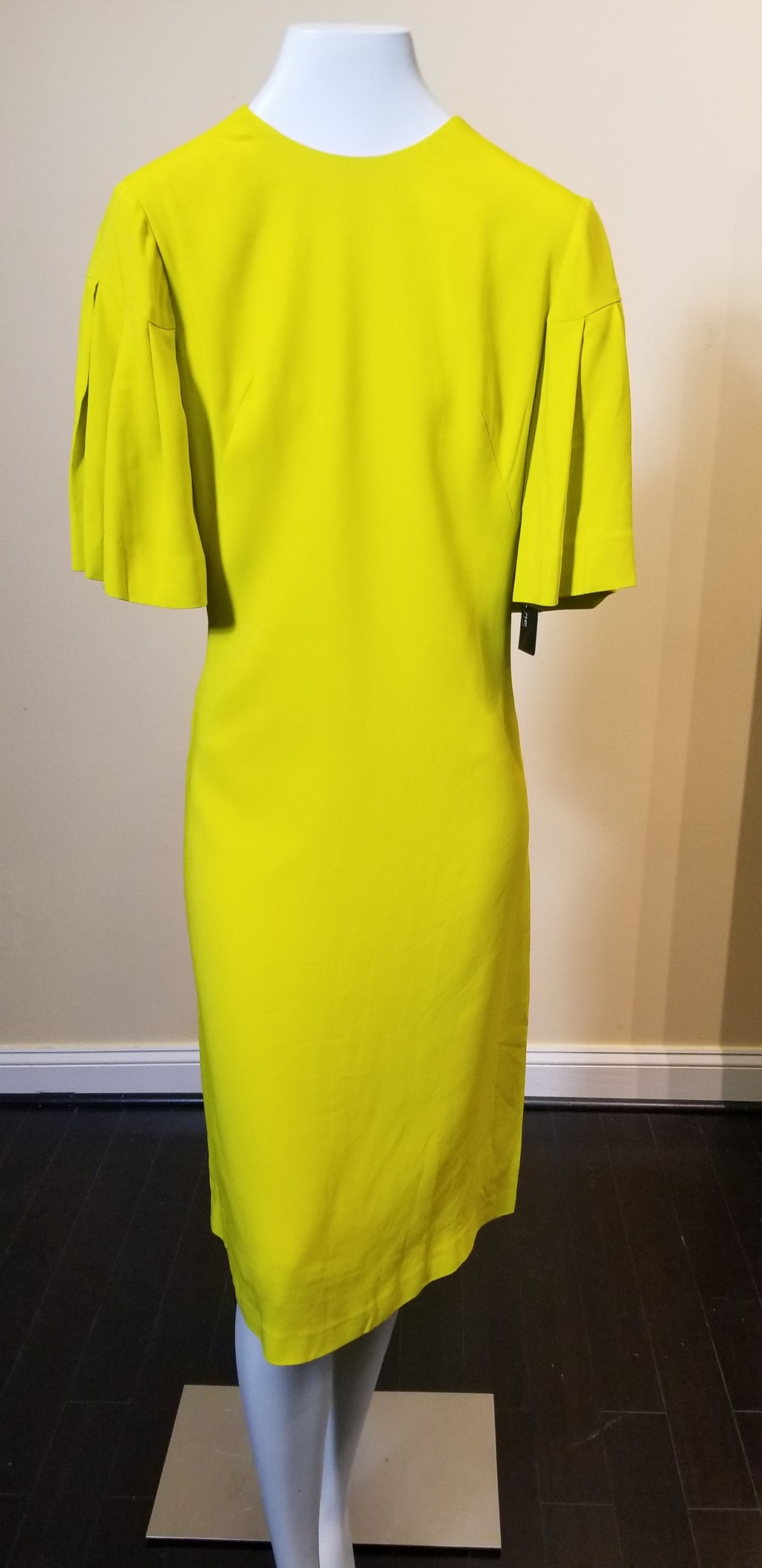 Semi-Fitted Round neck Dress with Pleated Sleeves Chartreuse