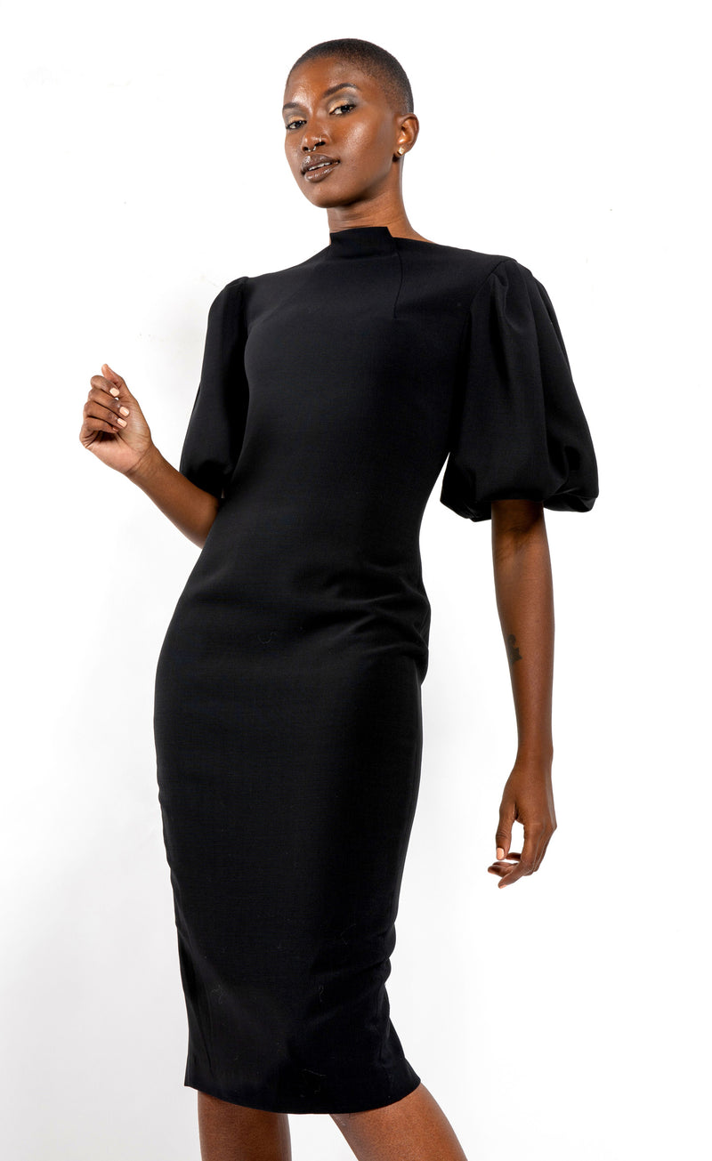 Black Center High-Neck with Puffed Sleeves