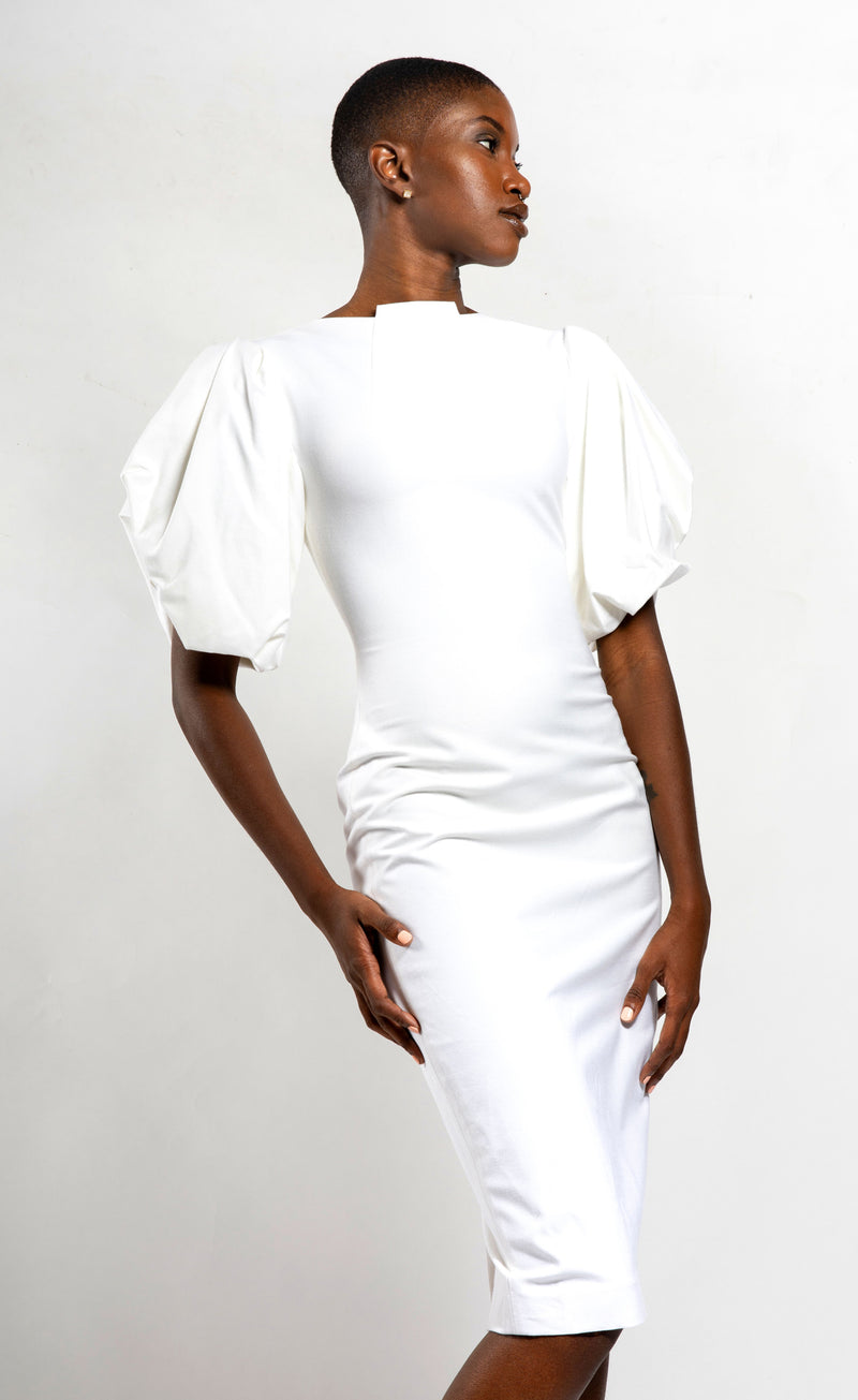 Off-White Center Highneck Neckline with Puffed Sleeves