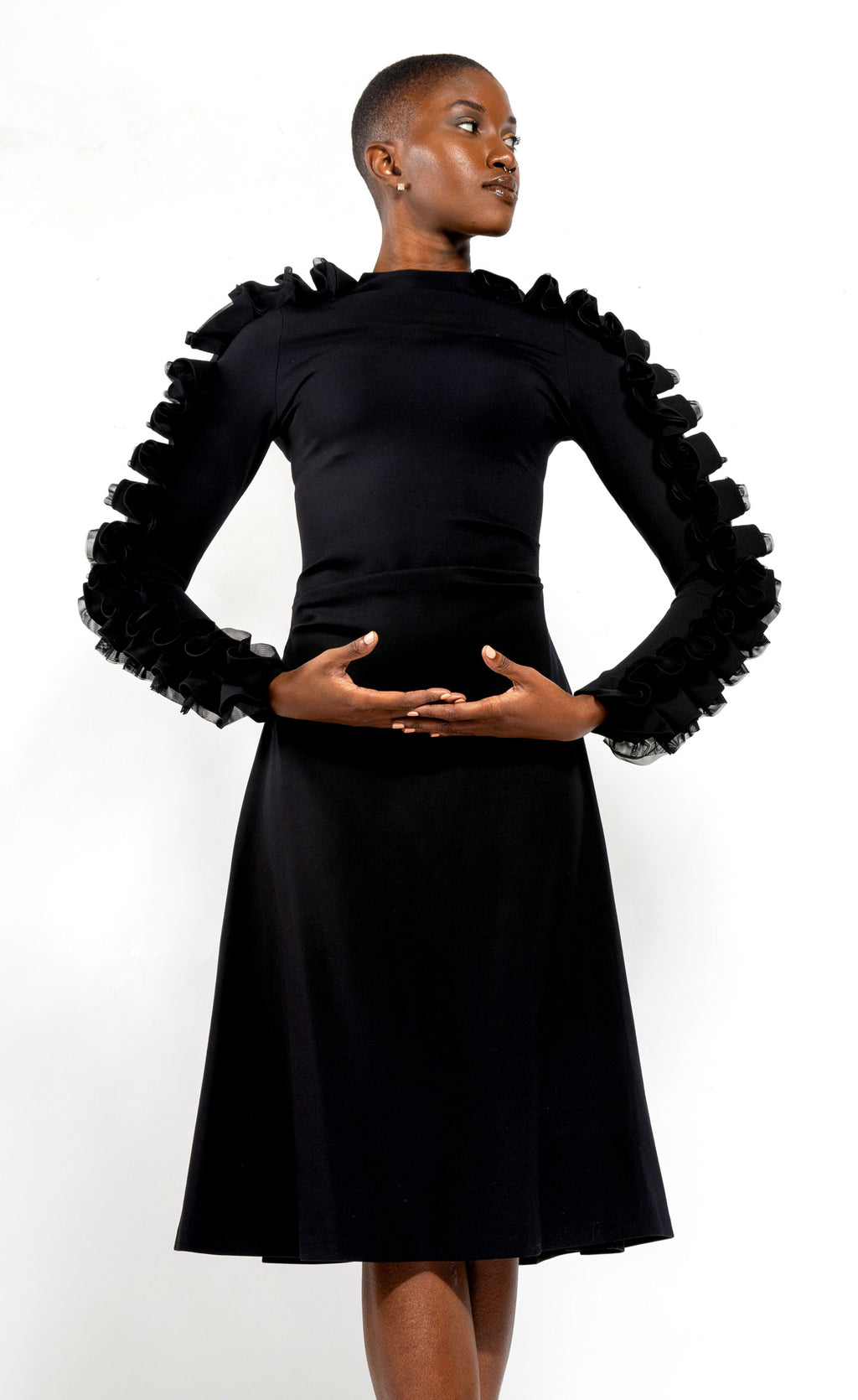 Black Pontee Jersey with Ruffles down the sleeves