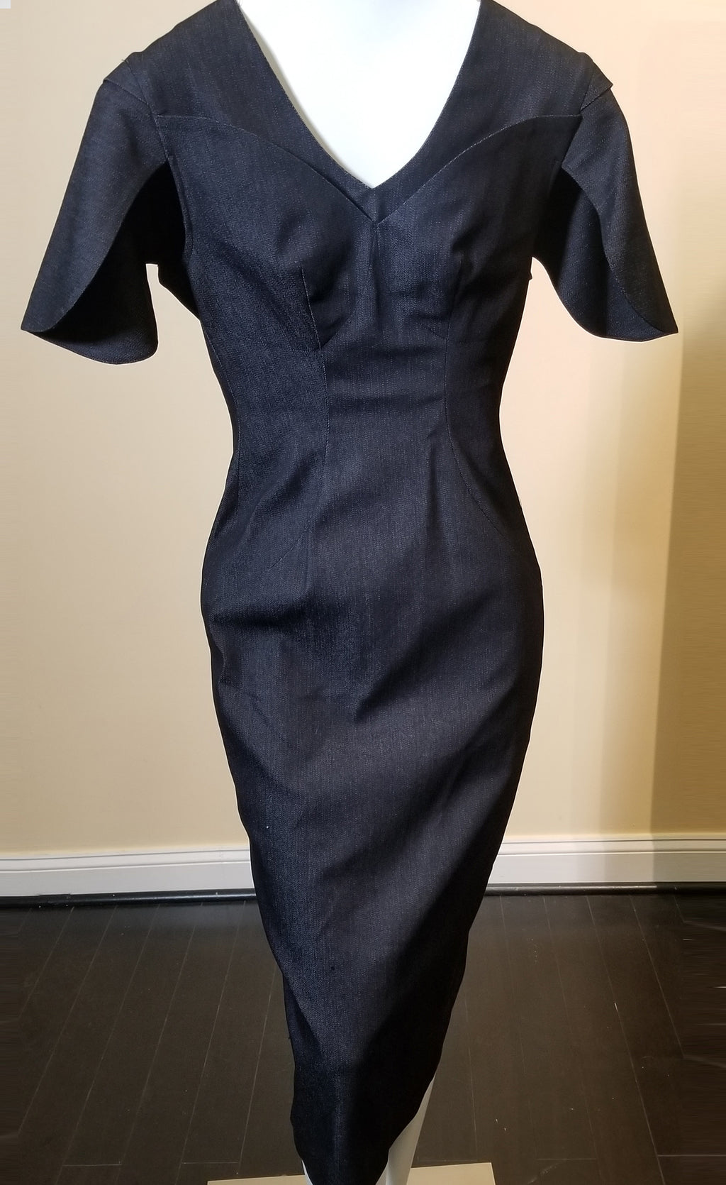 V front Denim Sheath Dress