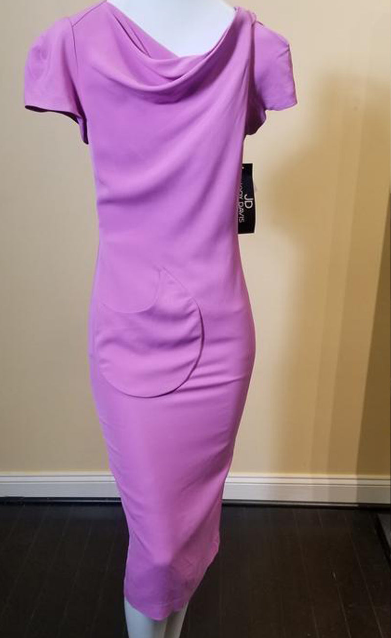 Draped Front Neckline, Semi-fitted Dress with Cap Sleeves