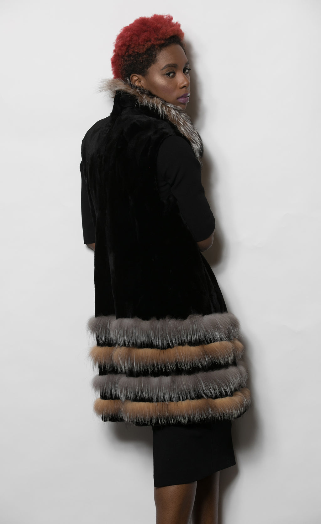 FUR Sheared Mink Paws Vest Tri-Color