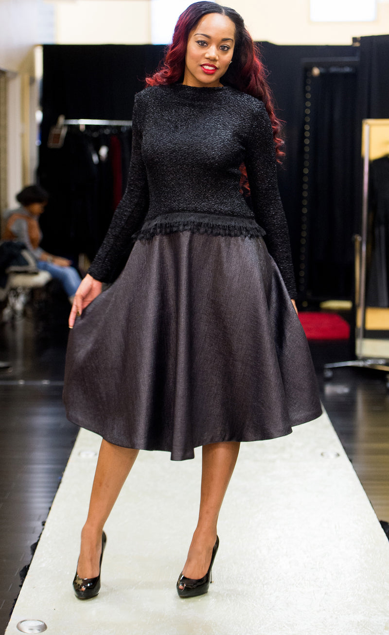 Black  Dress -Novelty Knit top with A-line Skirt