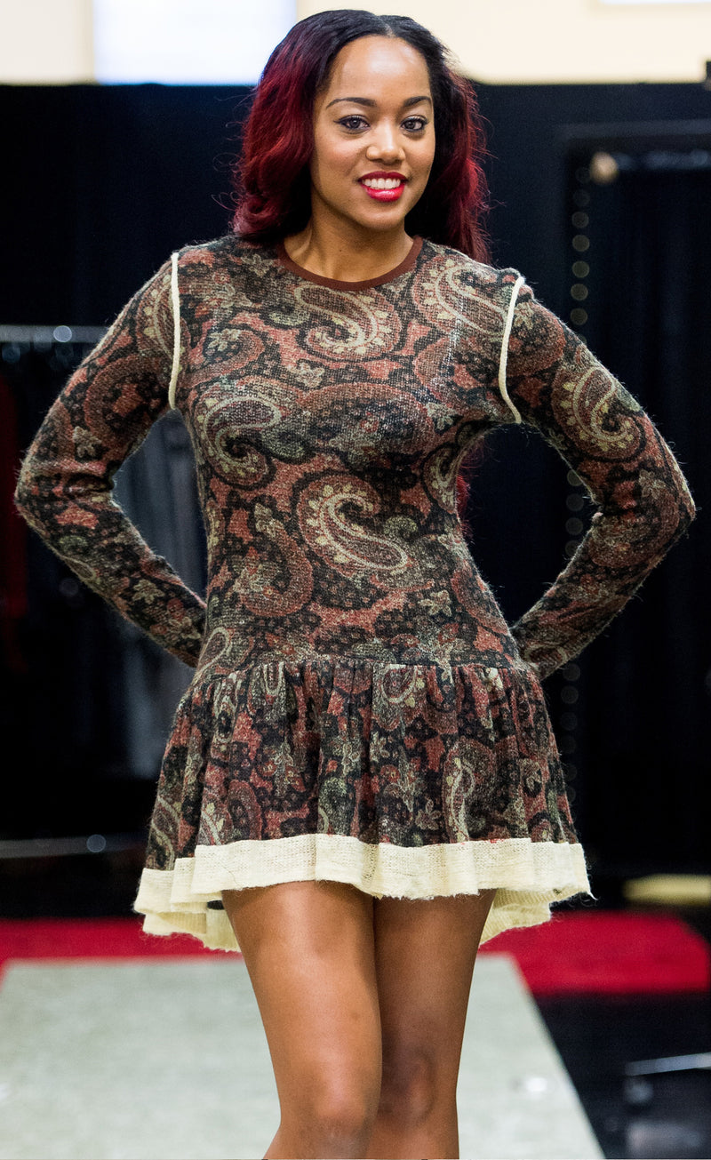 Paisley Wool Knit Fitted top with circular skirt