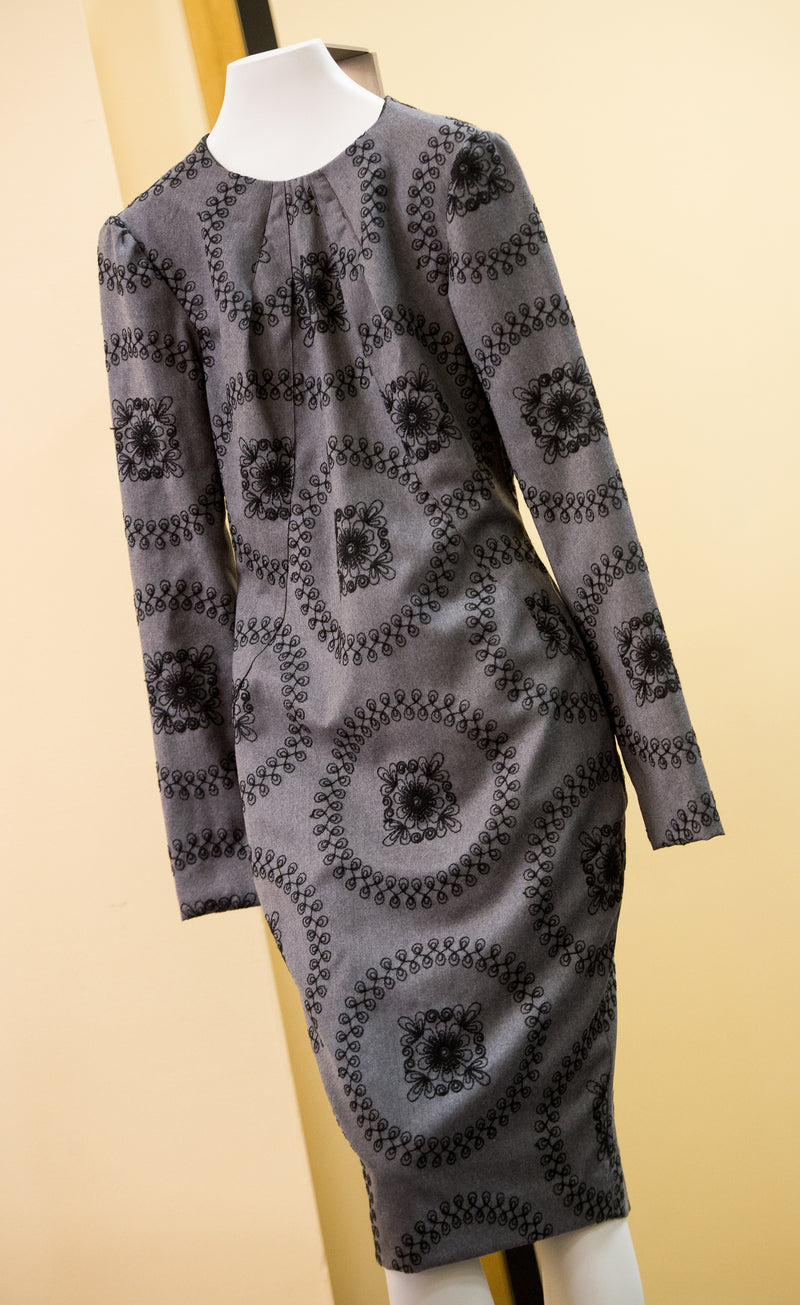 Pleated Round Neck Printed Wool Dress
